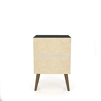 Manhattan comfort  liberty mid century - modern nightstand 2.0 with 2 full extension drawers in black