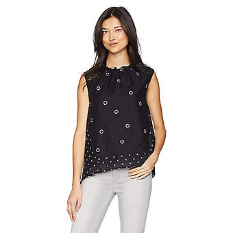 Kenneth Cole Women's Grommet Printed Sleeveless Top, Mini, Black, Size X-Large
