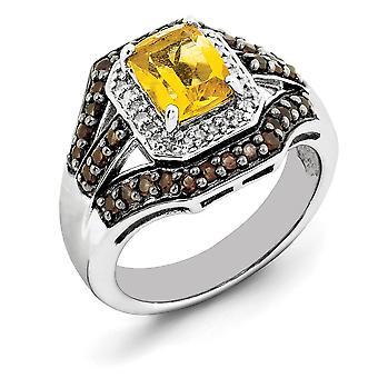 925 Sterling Silber Citrine und rauchigen Quarz und Diamant-Ring-Schmuck-Geschenke für Frauen - Ring-Größe: 5 bis 10