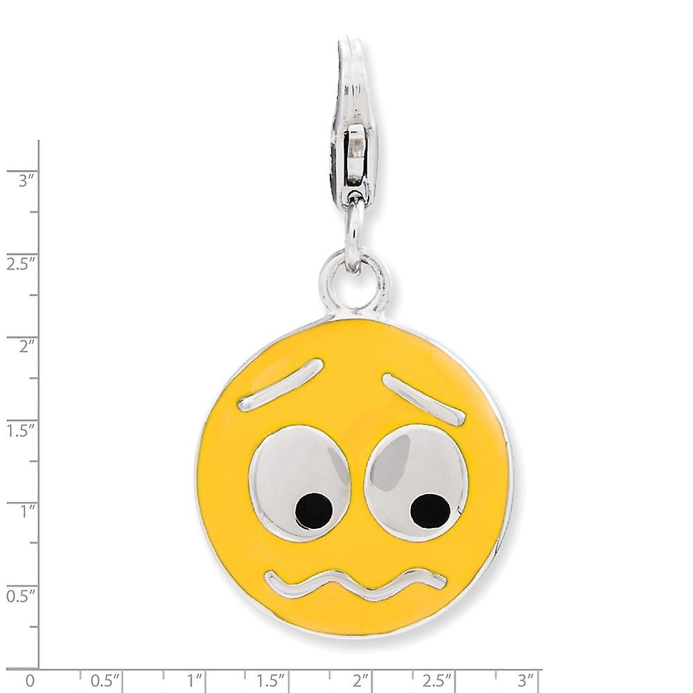 925 Sterling Silver Rhodium plated Fancy Lobster Closure Enameled Confused Face With Lobster Clasp Charm Pendant Necklac