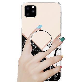 Beskyttende etui deksel for Apple iPhone 11 6,1 tommers svart hvitt pulver 3D marmor TPU silikon veske