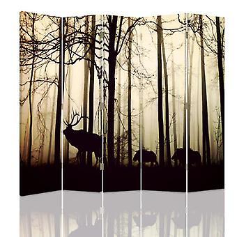 Divisor de quarto, 5 painéis, dupla face, lona, animais na floresta