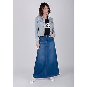 Womens long denim skirt - stonewash