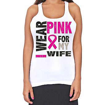 Junior-apos;s Dri Fit I Wear Pink For My Wife Breast Cancer Support T-Back Tank Top