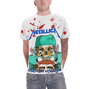 Metallica T Shirt Crash Course In Brain Surgery new Official Mens White All Over