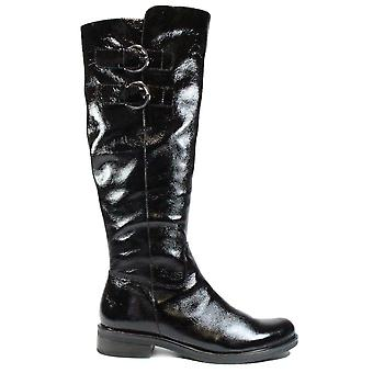 Caprice 25530 Black Patent Leather Womens Long Leg Boots