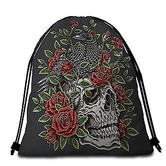 Roses Skull and Raven Beach Towel