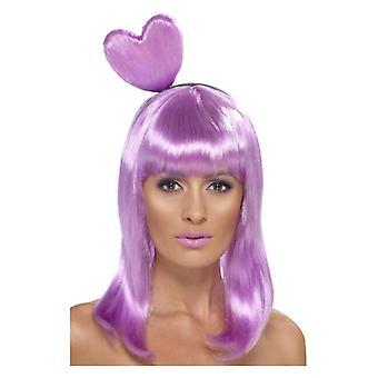 Womens lilla Candy Queen parykk Fancy kjole tilbehør