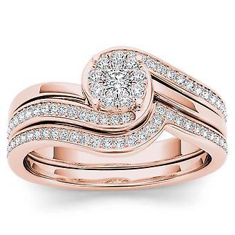 Igi certified 10k rose gold 0.50 ct natural diamond halo engagement ring set