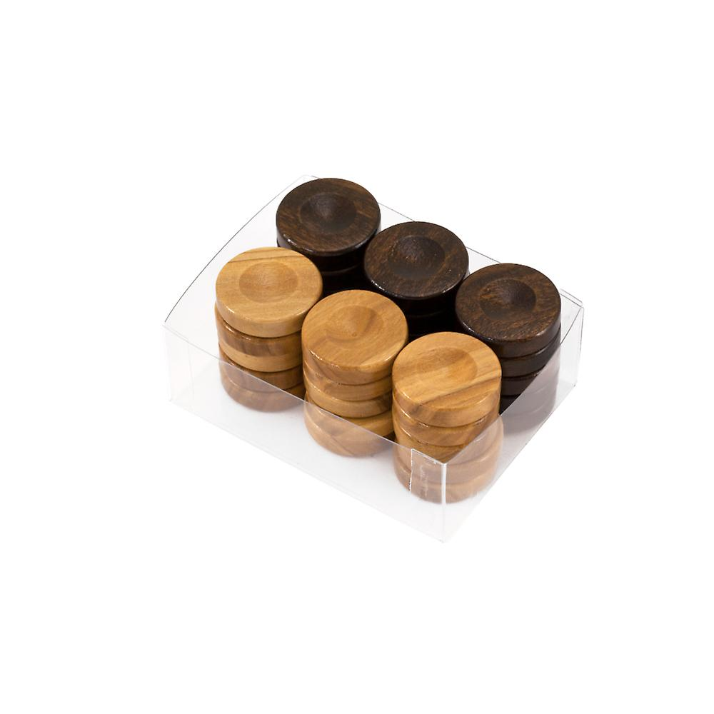 Deluxe Olive Wood Backgammon Stones Natural & Brown 26mm
