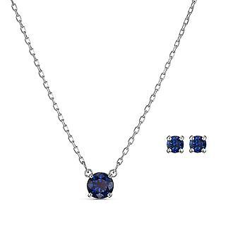 SET Swarovski 5536554 -  Set Collier et boucles d'oreilles M�tal Argent� Cristal Bleu Rond Femme