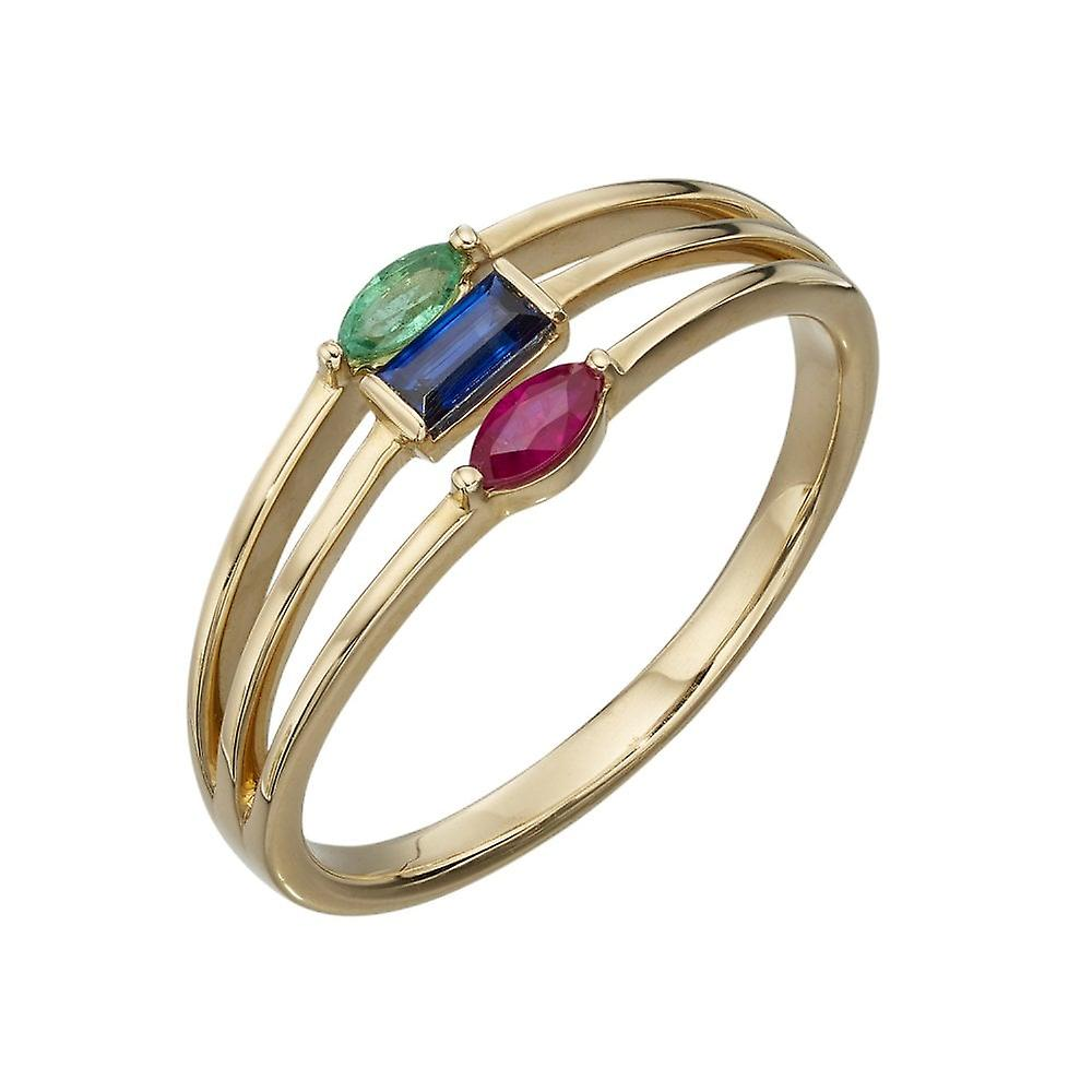 Joshua James Precious 9ct Yellow Gold With Ruby  Sapphire & Emerald Triple Band Ring
