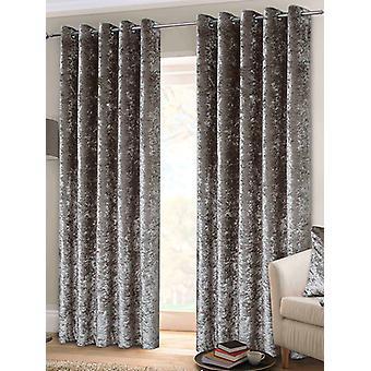 Belle Maison Lined Eyelet Curtains, Crushed Velvet Range, 46x54 Silver