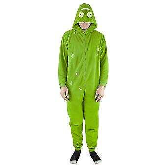 Rick ve Morty Pickle Rick Green Onesie Men's/Women's Hooded Sleep Suit