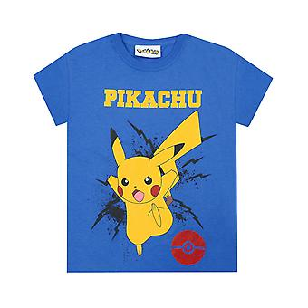 Pokemon Boys T-Shirt Pikachu Bolt Kids Blue Top