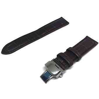Crocodile grain watch strap brown premier padded with stainless steel deployment clasp
