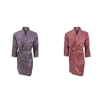 Mens Lightweight Traditional Patterned Satin Robe/Dressing Gown