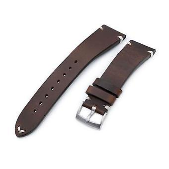 רצועת כתפיות עור שעון רצועה 20mm, 21mm, 22mm מילתאת horween כרומאקסל רצועת השעון, בורגונדי חום, בז ' תפרים