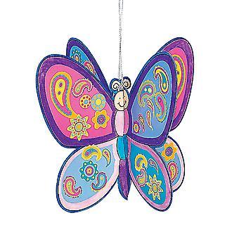 12 dekorera en fjäril Kids klistermärke Craft kit | Barn insekt & bugg hantverk