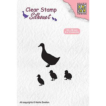 Nellie's Choice Clearstamp - Silhouette duck with chicks SIL059 9x12mm - 53x59mm (02-20)