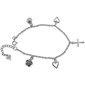 Jo For Girls Sterling Silver Rhodium Plated 5 Charm Bracelet 6