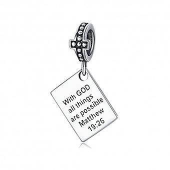 Charm Pendentif En Argent Avec Dieu Tout Est Possible - 6432
