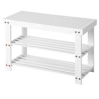 White Lacquered Bamboo storage cabinet/Bench