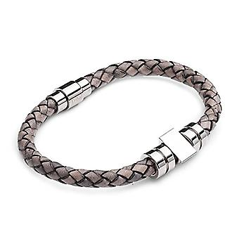 Tribal Steel Grey leather men's bracelet with stainless steel barbell closure
