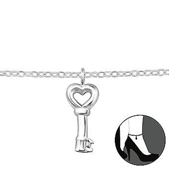 Schlüssel - 925 Sterling Silber Fußkettchen - W31577x