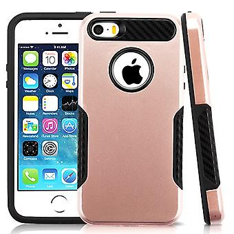 Asmyna Hybrid Protector Case for Apple iPhone 5/5S/SE - Rose Gold/Black