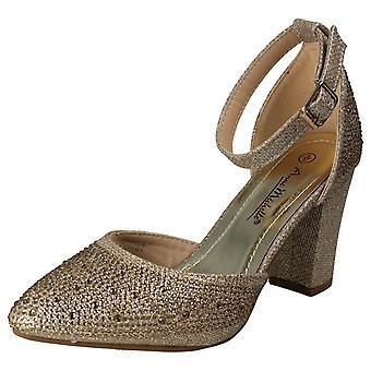 Ladies Anne Michelle Block Heel Glitter Court Shoes