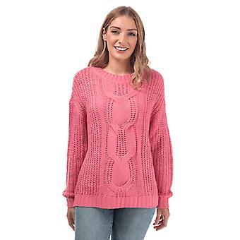 Women's Vero Moda Presley Alpine Cable Knit Jumper in Pink