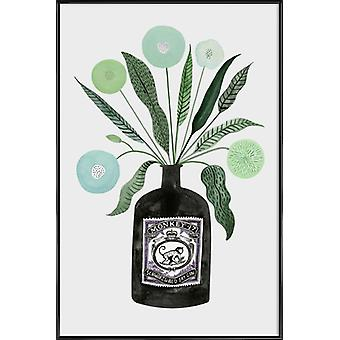 JUNIQE Print - Ginspiration No.4 - Flowers Poster in Grey & Green