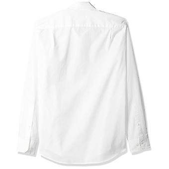 Essentials Men's Slim-Fit Long-Sleeve Solid Casual Poplin Shirt, Blanc...