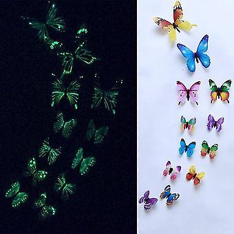 12pcs mariposa luminosa pegatinas de pared