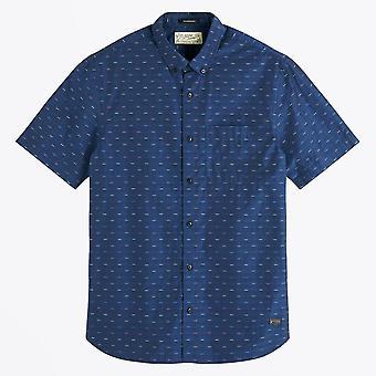 Scotch & Soda  - Fil-Coupe Short-Sleeve Shirt - Navy