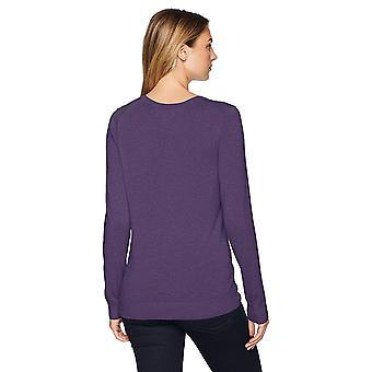 Essentials Mujeres's Suéter ligero de cuello en V, brezo púrpura, X-grande