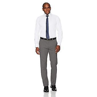 """BOTONADO ABAJO Hombres's Slim Fit Spread-Collar Camiseta de Vestido No Hierro (Sin Bolsillo), Blanco, 17.5"""" Cuello 34"""" Manga"""
