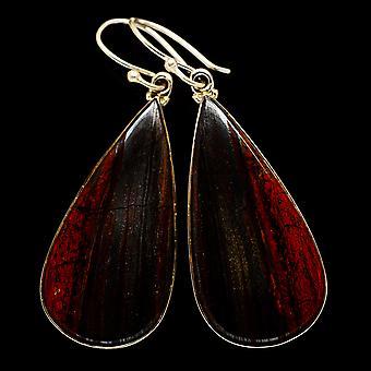 """Red Jasper Kolczyki 2 1/4"""" (925 Srebro) - Ręcznie boho vintage biżuteria EARR404947"""