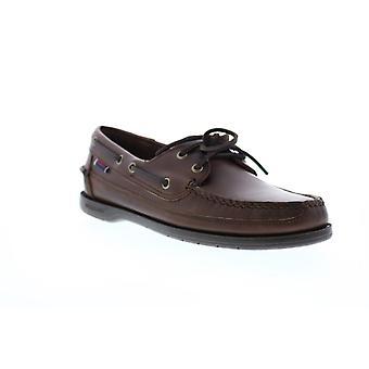 Sebago Schooner Mens Brown Leather Loafers & Slip Ons Boat Shoes