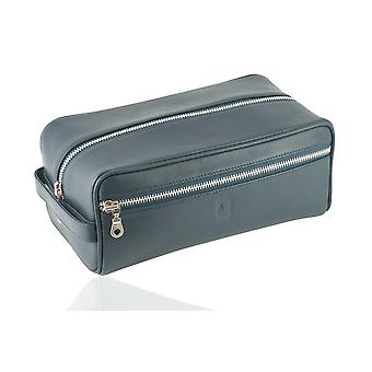 Navy Leather Toiletry Bag in Oxford