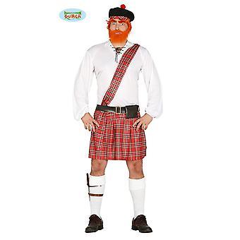 Traje escoc para traje escocés de los hombres Falda escocesa Willy carnaval