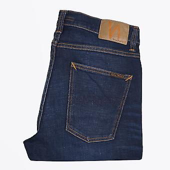 Nudie Jeans - Lean Dean - Dark Deep Worn Jeans - Indigo Blue