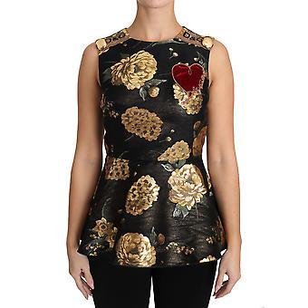 Dolce & Gabbana Kahverengi Altın Çiçek Kalp Jakarlı Bluz TSH3095-40