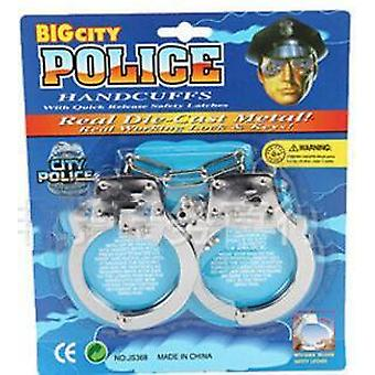 Pretend Play Silver Metal Handcuffs Cosplay With Keys Police Role Cosplay Adult Toy For Children Boy