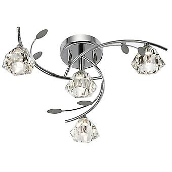 4 Light Multi Arm Ceiling Semi Flush Light Chrome and Glass, G9