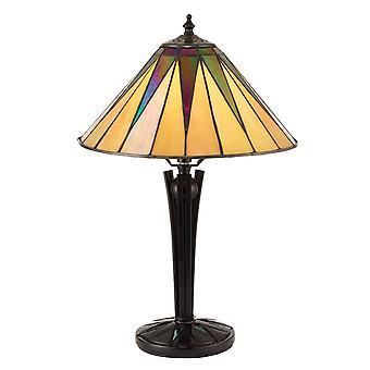 1 Lampe de table légère noire, verre tiffany style, E14