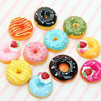 10pcs/set Cute Mini Candy Donut Doll Food Pretend Play- Dollhouse Accessories Miniature Home Craft Decor Cake Kids Kitchen Toys (mix 10 Pcs)