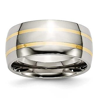 Titanium Engravable 14k Gold Inlay 10mm Polished Band Ring Jewelry Gifts for Women - Ring Size: 8 to 14