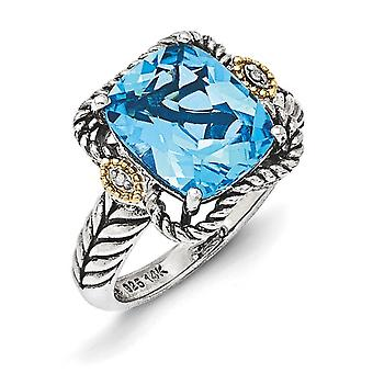 925 Sterling Zilver met 14k Lt Swiss Blue Topaz en Diamond Ring Sieraden Cadeaus voor dames - Ring Grootte: 6 tot 8
